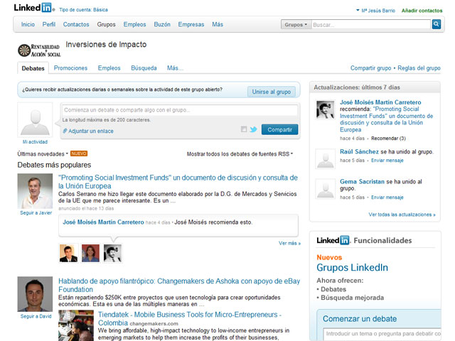 Grupo de Linkedin: Inversiones de impacto