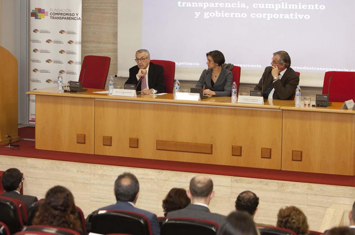 <p>Marín Quemada estuvo acompañado por María López Escorial y Javier Martín Cavanna, presidenta y director de la Fundación Compromiso y Transparencia, respectivamente.</p>