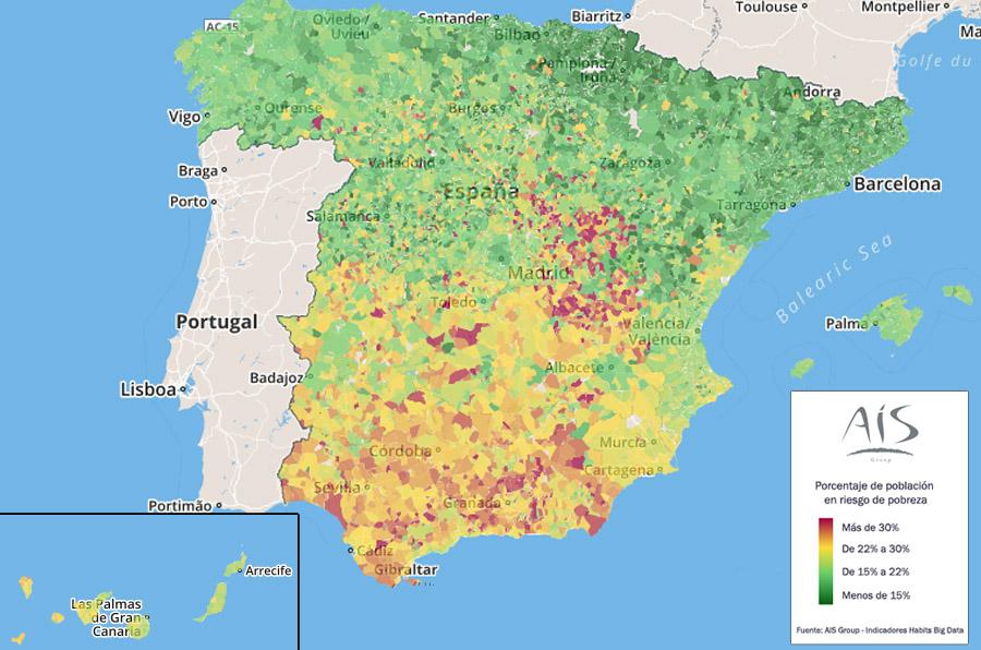 La tasa de población en riesgo de pobreza, mayor en los municipios del sur de España