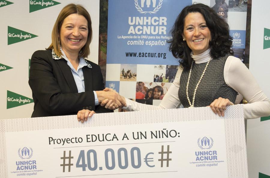El Corte Inglés dona 40.000 euros a Acnur para escolarizar a 2.000 niños refugiados