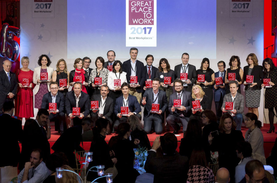 Great Place to Work premia a las 50 mejores empresas para trabajar en España en 2017