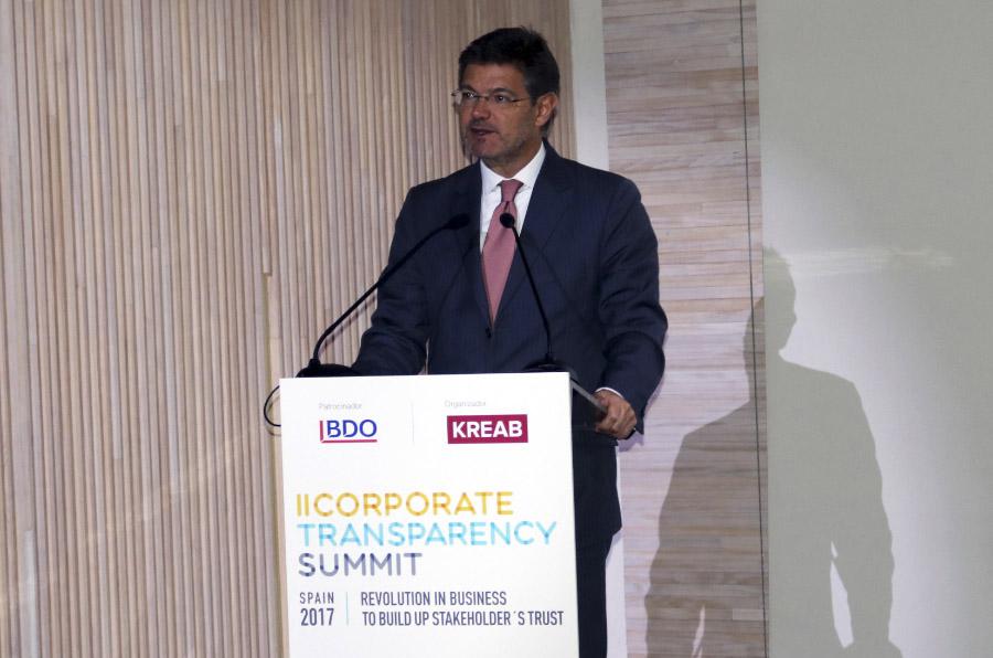 <p>Rafael Catalá, ministro de Justicia, durante el II Corporate Transparency Summit. </p>
