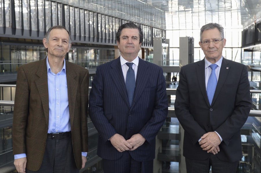 <p>Víctor Viñuales, director de Ecodes; Borja Prado, presidente de Endesa y Javier Senent, presidente de Cruz Roja Española.</p>