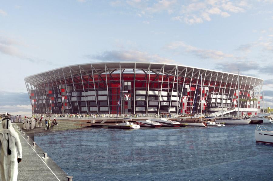 <p>El estadio Ras Abu Aboud lucirá así en el Mundial Qatar 2022.</p>