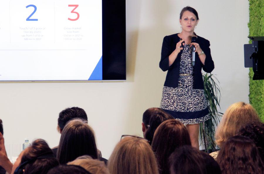 <p>Krisztina Tora, directora de Desarrollo del GSG, en la presentación de Foro Impacto.</p>