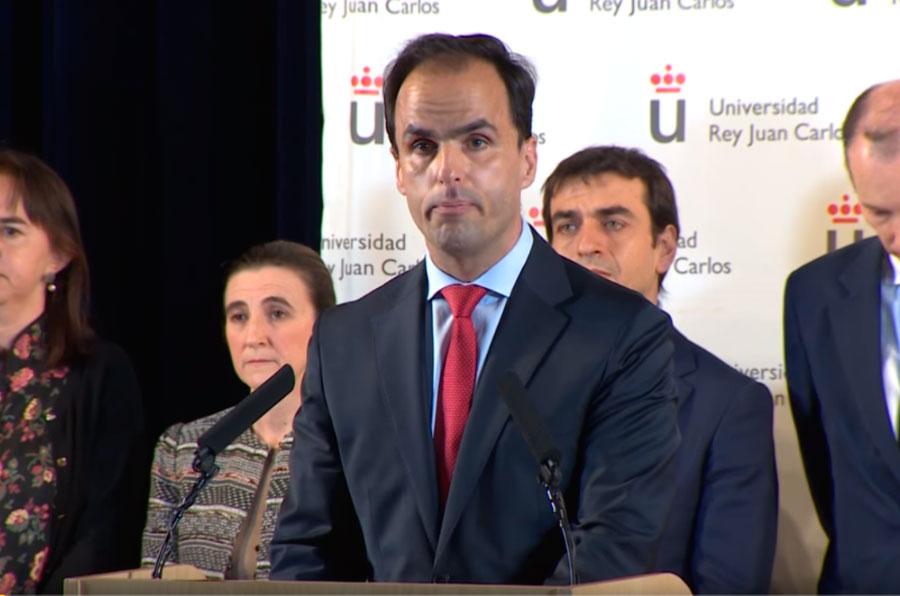 <p>El rector de la Universidad Rey Juan Carlos, Javier Ramos, compareció ante los medios por el caso Cifuentes.</p>