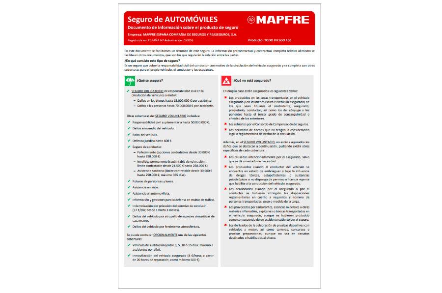 Mapfre se adelanta a la normativa europea y publica las fichas de productos
