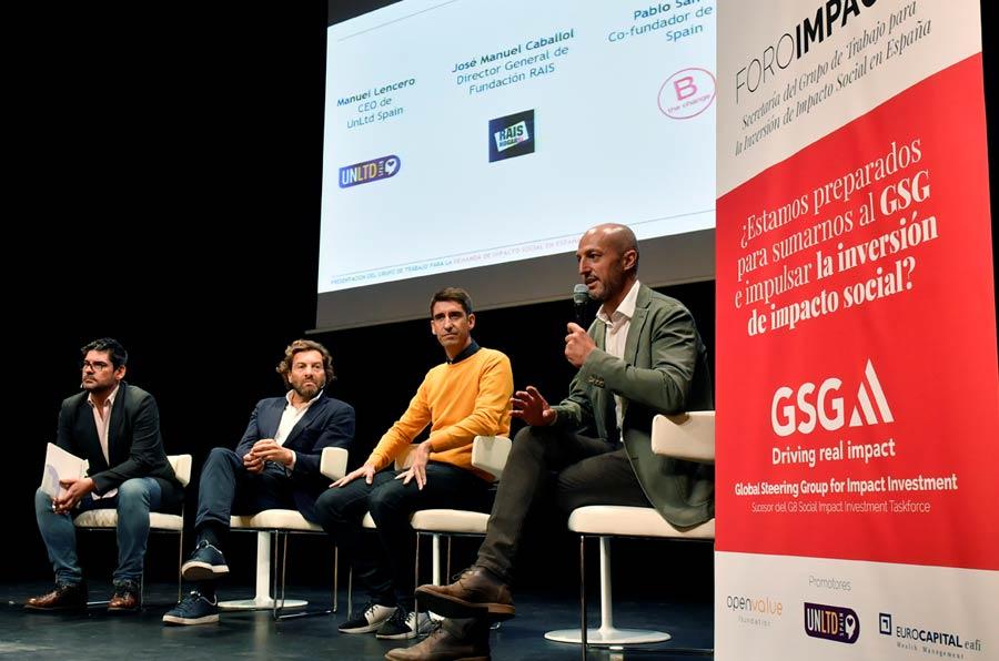 <p>José Manuel Caballol, director general de Fundación RAIS; Manuel Lencero, CEO de UnLtd Spain; Pablo Sánchez, cofundador de BCorp Spain, y Xavier Pont, director general de Ship2b. </p>