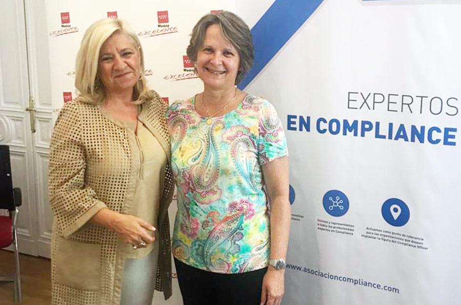 <p>Irene Navarro, directora general de Madrid Excelente; y Sylvia Enseñat, presidenta de la Asociación Española de Compliance (Ascom).</p>