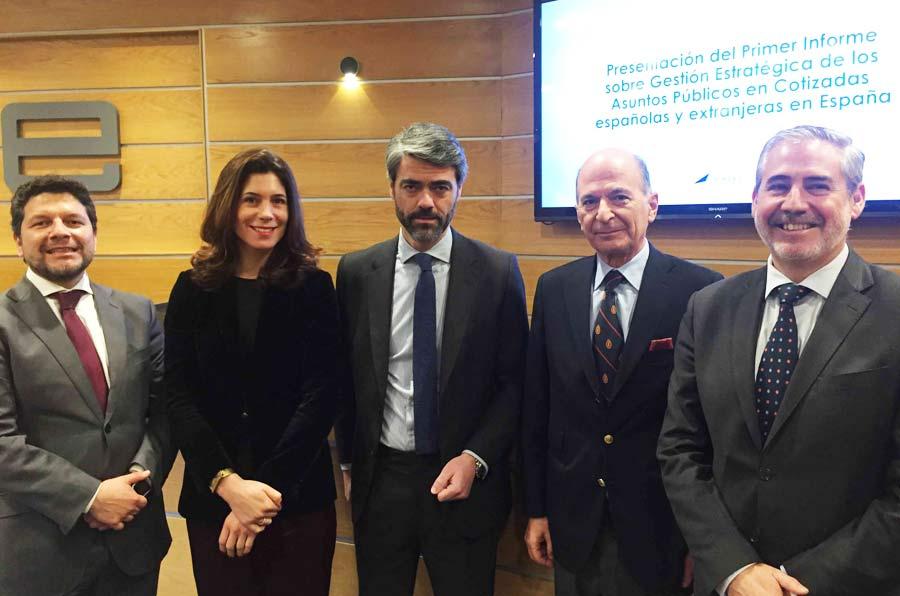 <p>Presentación del informe 'Gestión estratégica de los asuntos públicos en cotizadas españolas y extranjeras en España'.</p>