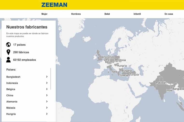 La empresa textil Zeeman hace públicos sus lugares de producción