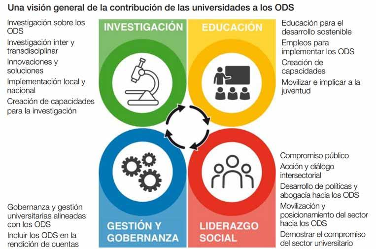 <p>Visión general de la contribución de las universidades a los ODS. Fuente: 'Cómo empezar con los ODS en las universidades'.</p>