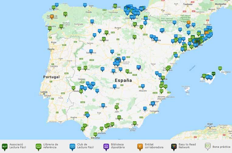 <p>Mapa Lectura Fácil España. Fuente: Associació Lectura Fàcil.</p>