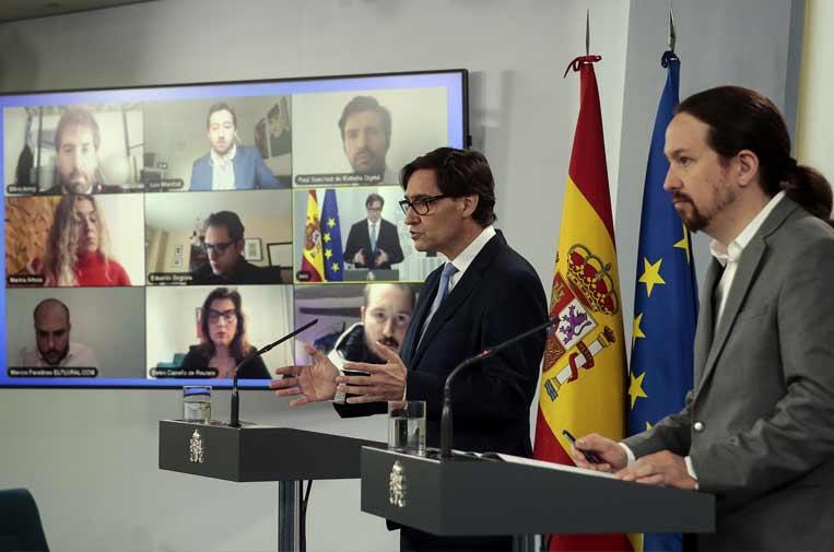 <p>Rueda de prensa telemática. Foto: Moncloa/JM Cuadrado</p>