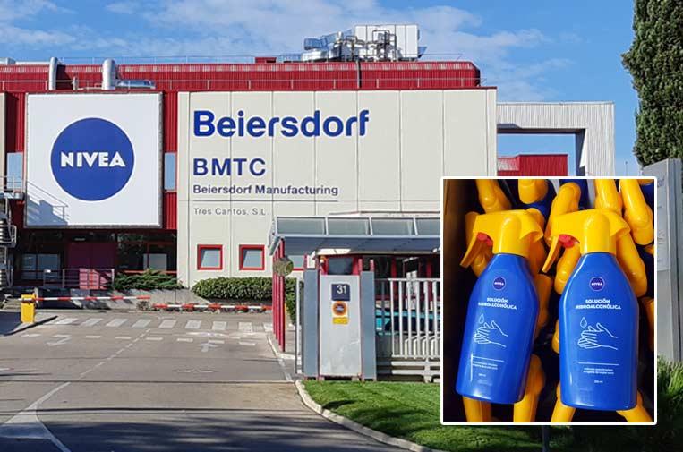 <p>Beiersdorf Manufacturing que habitualmente fabrica cremas Nivea está produciendo ahora geles hidroalcohólicos. Foto: Nivea.</p>