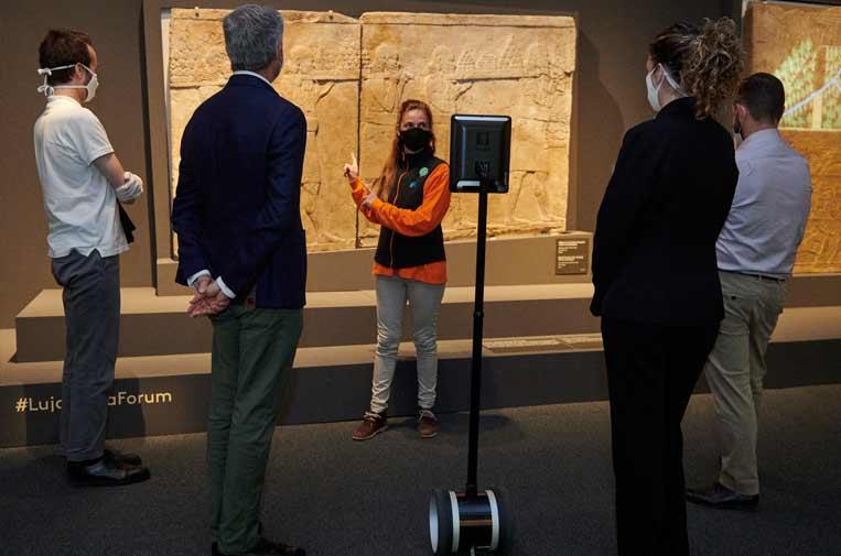 <p>Pilar es un robot de telepresencia Double 0 que dispone de una tableta con cámara montada sobre una barra y unida a un ligero transporte eléctrico que se conduce de forma teledirigida para realizar visitas telemáticas.</p>