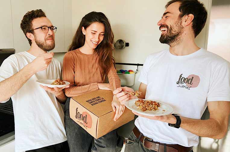 <p>Juan, Laurine y Emilio, cofundadores de foodStories.</p>