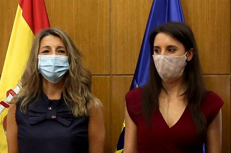 <p>La ministra de Trabajo y Economía Social, Yolanda Díaz, y la ministra de Igualdad, Irene Montero. Foto: Ministerio de Trabajo.</p>