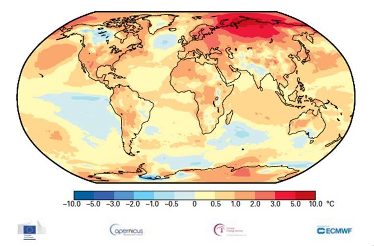 <p>Anomalías de temperatura relativas a la media a largo plazo de 1981-2010 del análisis ERA5 para 2020. Fuente: Servicio de Cambio Climático de Copernicus.</p>
