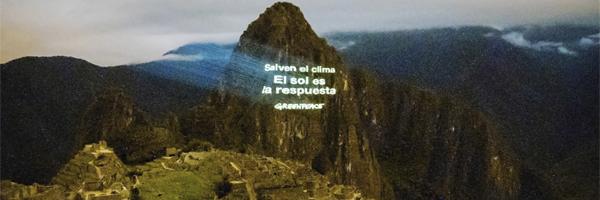 Greenpeace realizó una proyección con mensaje reivindicativo en Machu Picchu durante la COP20.
